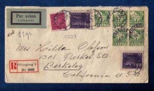 Sweden Sc #181 and Sc #236 Block Of Four + (1) and Sc #C7x (2) On A Cover to USA