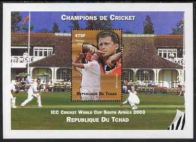 Chad 2002 Cricket World Cup perf m/sheet #5 showing Darre...