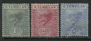 Malaya Negri Sembilan 1891-94 1 to 5 cents mint o.g. hinged