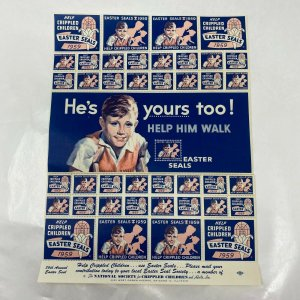 Vintage 1959 Easter Seals full sheet Cinderella stamps various sizes