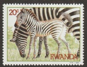 Rwanda stamp, Scott# 1199, mint hinged, Zebras, #1199