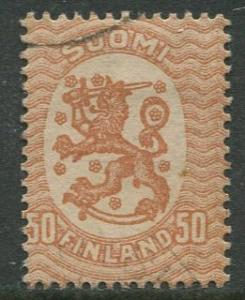 Finland - Scott 96 - Arms of Republic -1917- Used - Single 50p Stamp