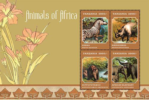 Tanzania - Animals of Africa, 2013 - Sc 2688 S/H Mint NH