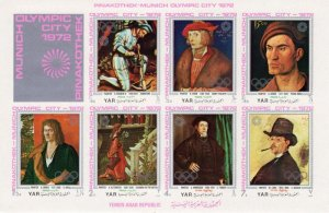 Yemen 1971 OLYMPIC MUNICH PAINTINGS Sheet Imperforated Mint (NH)