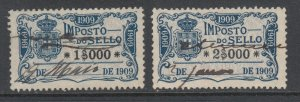 Portugal, Gerais, Barata 613, 614 used. 1909 General fiscals, 2 different, sound