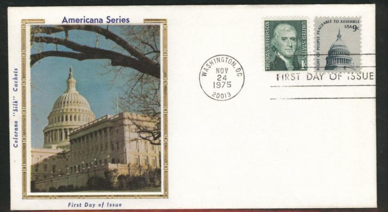 1591 FDC Capitol dome on COLORANO SILK Cache U/A