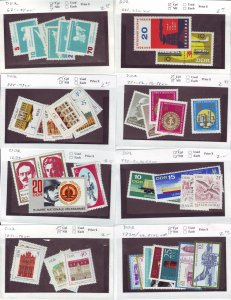 Z639 JL stamps germany DDR mnh with sets on sales cards, been checked & sound