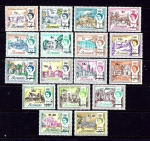 Bermuda 238-54 MNH 1970 Definitive new currency overprint