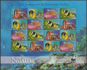 Nauru 2003 wwf marine life fish klb 16v MNH