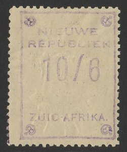 TRANSVAAL - NEW REPUBLIC 1887 10/6 Violet with embossed arms, on yellow paper.