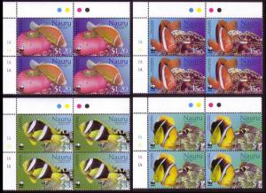 Nauru WWF Anemones and Anemonefish 4 Corner Blocks with margins SG#566-569