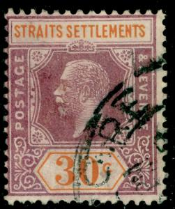 MALAYSIA - Staits Settlements SG235a, 30c dull pple&orge,used.WMK SCRIPT.DIE II.