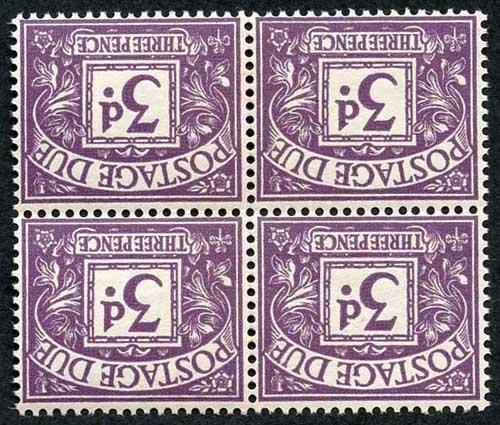 SGD60Wi 3d Postage Dues Block 4 Wmk Crowns Sideways Inverted U/M Cat 340+ pounds