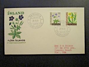 Iceland SC# 330 - 331 1960 Flowers Series FDC - Z4673