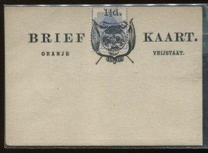 Orange Free State 1 1/2d Post Card unused, H & G 11