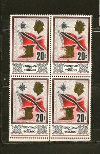 Trinidad and Tobago 152 Flag & Map Block of 4 MNH