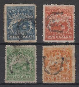 COSTA RICA 1863 COAT OF ARMS Sc 1-4 FULL SET SPIRO's LITHO FORGERIES U PTMKS