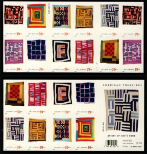 US #4098b QUILTS OF GEE's BEND, VF mint never hinged, Double sided pane of 20...