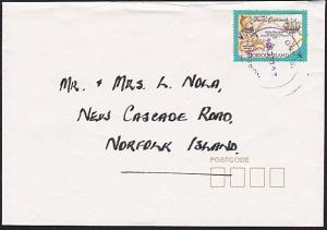 NORFOLK IS 1996 local 5c rate cover with violet cds.........................6491