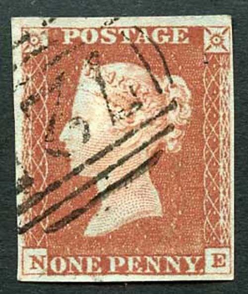 1841 Penny Red (NE) Four Margins No Faults