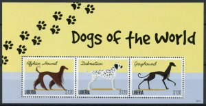 Liberia Stamps 2012 MNH Dogs of World Dalmatian Greyhound Afghan Hound 3v M/S II