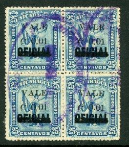 Nicaragua 1914 Liberty Overprint 1¢/25¢ Block VFU H345