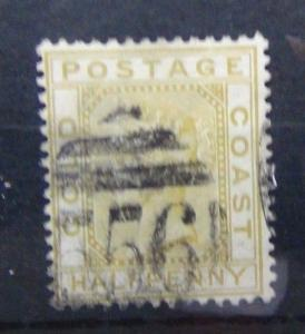 Gold Coast 1883 1/2d Olive - Yellow Fine Used