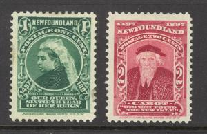 Canada Newfoundland Sc# 61-62 MH 1897 1¢-2¢ Queen Victoria & John Cabot