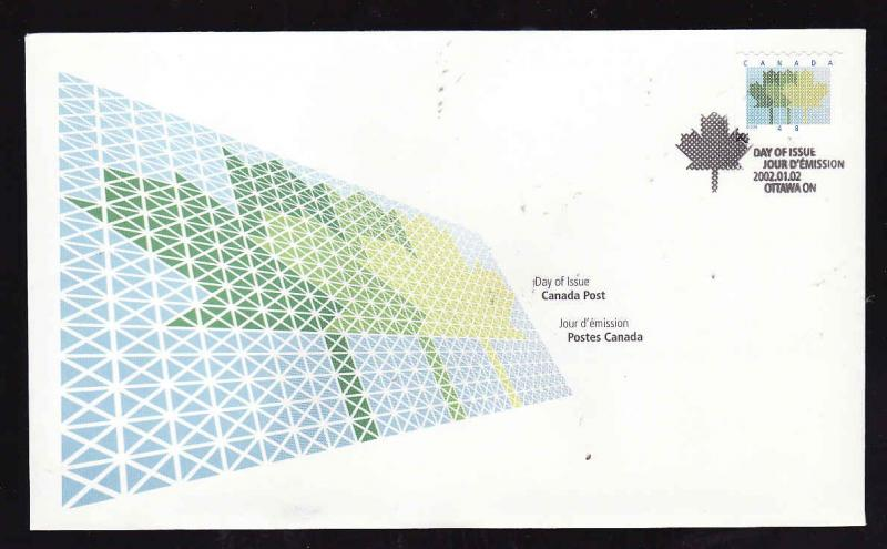 Canada-Sc#1927-stamp on FDC-Domestic First-Class Rate Coil-2001-