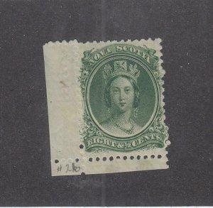 NOVA SCOTIA (MK5347)  # 11  VF-MNH  8 1/2cts  QN VICTORIA /CREASED MARGIN CV $40