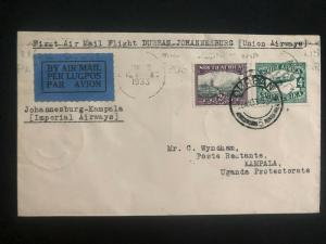 1933 Durban South Africa First Flight Airmail Cover to Kampala Uganda KUT
