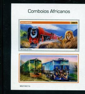 MOZAMBIQUE  2019 90th ANNIVERSARY OF AFRICAN TRAINS SOUVENIR SHEET MINT NH