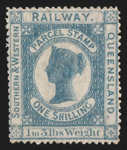 QUEENSLAND Railways : 1867 QV 'Parcel Stamp' 1/-. VERY RARE!