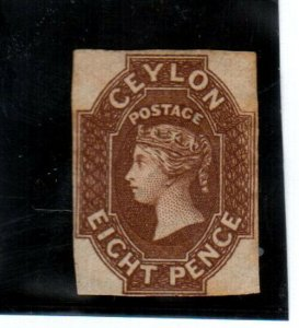 Ceylon #8 Mint Fine Unused (No Gum) Rare Watermark 6 Star