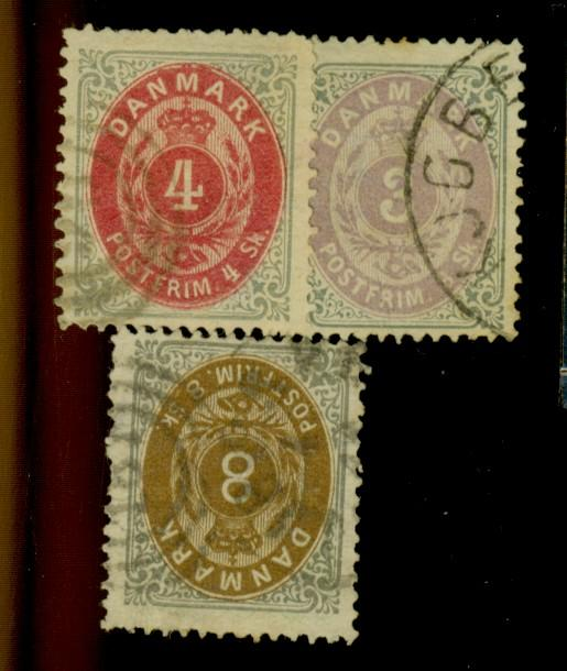 Denmark #17-19 Used F-VF Cat$195