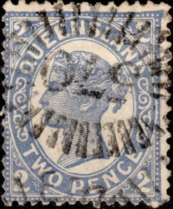 AUSTRALIA / QUEENSLAND 1897 - Numeral 570 of TOWNSVILLE on SG234 2d blue p.13