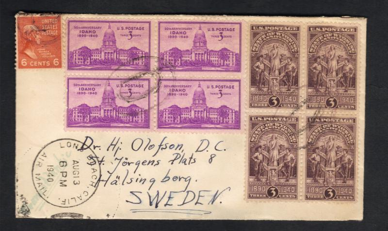 1940-Multi-Block US Postal Cover Sc#896 And Sc#897 Idaho & Wyoming Statehood