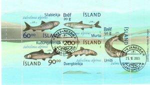 Iceland #974b F-VF Used Booklet Pane CV $27.50 (X9568L)