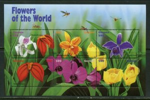 GUYANA  FLOWERS OF THE WORLD SET OF TWO SHEETS  II  MINT NH