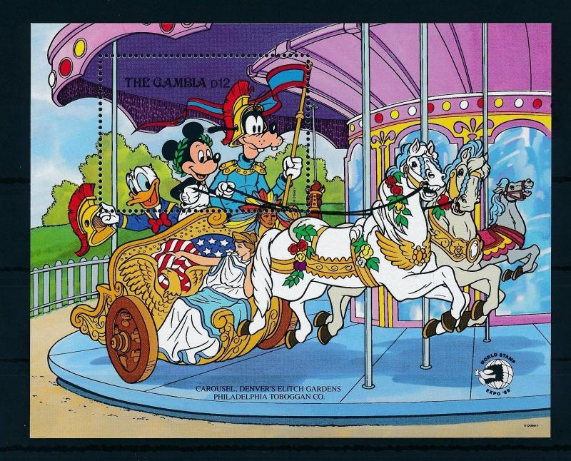 [22359] Gambia 1989 Disney Mickey Mouse Goofy Carousel Horses MNH