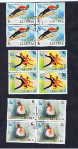 1980 LAKE PLACID BLOCKS OF FOUR LIBERIA