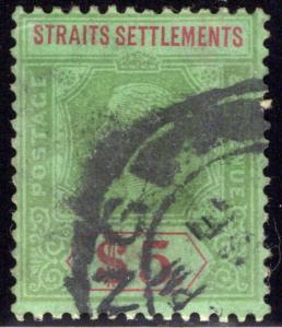 128 Straits Settlements, $5 Grn & Red, Grn, 1911, wmk. 3, Postally Used, Sin...