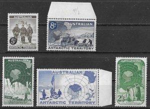 Australian Antarctic Territory set of 1957-59, Scott L1-L5 MNH/MH, Penguins