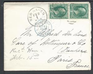Scott #184 (pair), New Haven, Conn to France, Usages to F...
