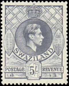 Swaziland #36, Incomplete Set, Key Value, 1938, Hinged
