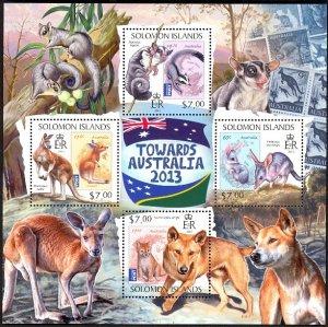 SOLOMON ISLANDS 2013 $21 WILDLIFE Towards Australia Souvenir Sheet Sc 1293 MNH