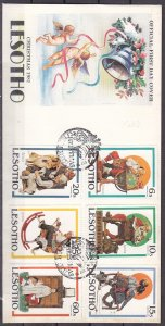 Lesotho, Scott cat. 344-349. Christmas & N. Rockwell issue. First day Cover. ^