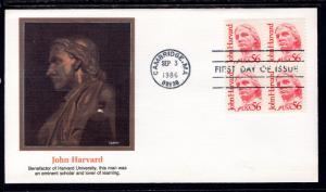 US 2190 John Harvard Block of Four Fleetwood U/A FDC