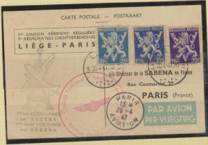 O) 1947 BELGIUM, CARTE POSTALE, BELGIUM LIEGE TO PARIS SABEN