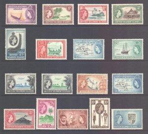 BSI Solomon Islands Scott 89/105 - SG82/96, 1956 Elizabeth II Set MH*